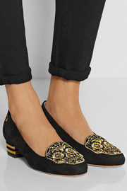 Charlotte Olympia Day of the Dead embellished suede slippers