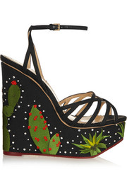 Charlotte Olympia Celebration Meredith embellished linen sandals