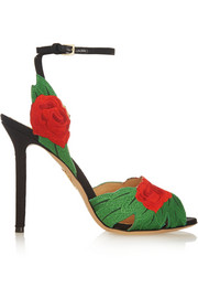 Charlotte Olympia Roselina embroidered satin sandals