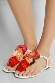 Rosario floral-embellished leather sandals