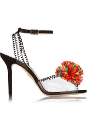 Pom embellished PVC and suede sandals