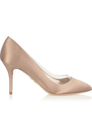 Charlotte Olympia Party PVC-trimmed satin pumps