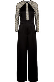 Temperley London Klara embellished tulle-paneled satin-crepe jumpsuit