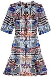 Arielle printed satin-twill mini dress