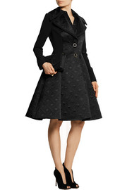 Temperley London Novah quilted satin and crepe coat