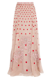 Temperley London Josette embellished polka-dot silk-organza maxi skirt