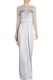 Temperley London Klara embellished tulle-paneled satin-crepe gown