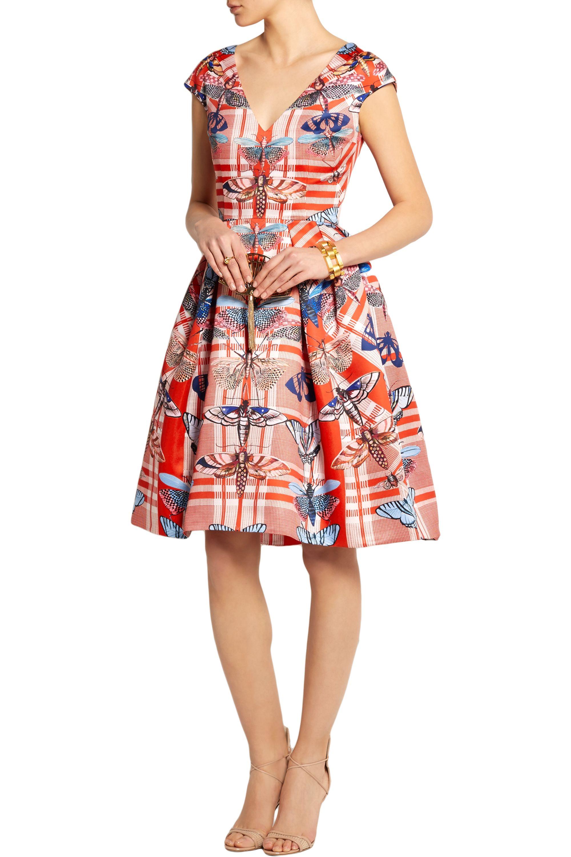 Temperley London Arielle printed satin-twill dress