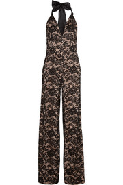 Newton lace and stretch-silk jumpsuit