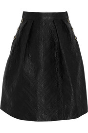 Novah quilted cotton and silk-blend skirt
