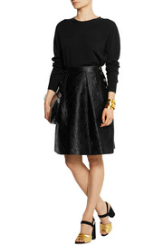 Temperley London Novah quilted cotton and silk-blend skirt