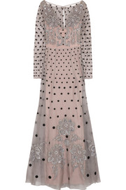 Josette embellished polka-dot silk-blend organza gown
