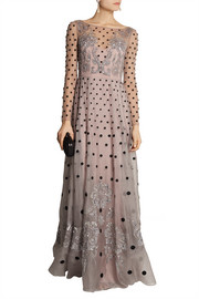 Temperley London Josette embellished polka-dot silk-blend organza gown