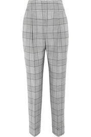 Temperley London Millie Prince of Wales check wool and mohair-blend straight-leg pants