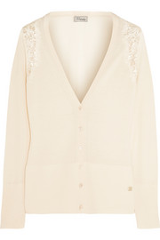 Grace lace-paneled wool-blend cardigan