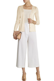 Temperley London Grace lace-paneled wool-blend cardigan