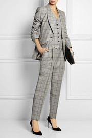 Temperley London Millie Prince of Wales check wool and mohair-blend vest