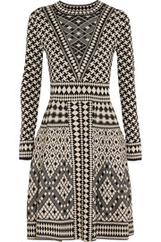 Empire jacquard-knit merino wool dress