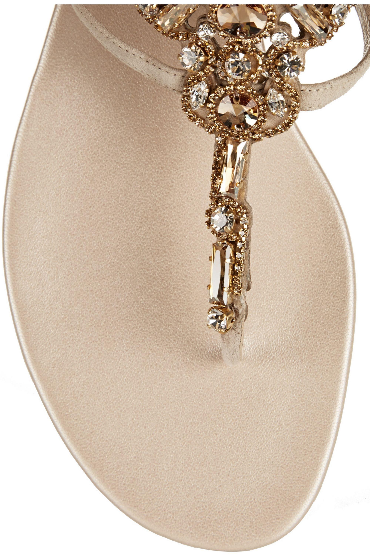 René Caovilla Swarovski crystal-embellished suede sandals