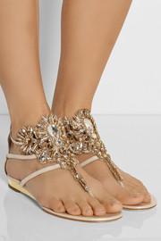 Swarovski crystal-embellished suede sandals