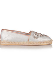 Crystal-embellished metallic leather espadrilles