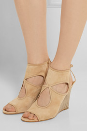 Aquazzura Sexy Thing cutout suede wedge sandals