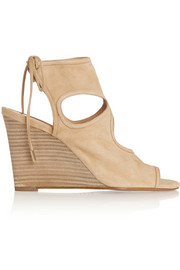 Sexy Thing cutout suede wedge sandals