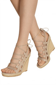 Aquazzura Amazon leather, rope and wood wedge sandals