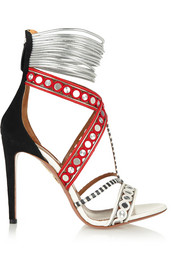 The Queen embellished leather, suede and elaphe sandals