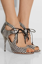 Aquazzura C'est Chic striped elaphe sandals
