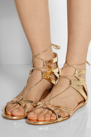 Aquazzura Beverly Hills mirrored-leather flat sandals