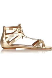 Beverly Hills mirrored-leather flat sandals