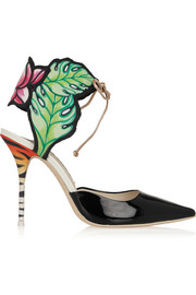 Rousseau Jungle printed satin and patent-leather sandals