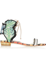 Sophia Webster Rousseau Jungle printed satin and leather sandals