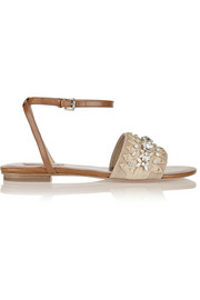 Michael Kors Hadden embellished leather and suede sandals