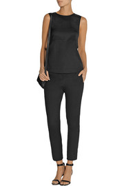 T by Alexander Wang Layered stretch-silk twill top