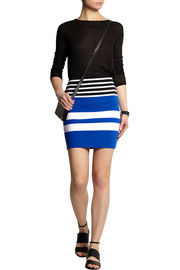 Striped stretch-cotton jersey mini skirt