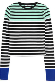 Striped stretch-cotton top