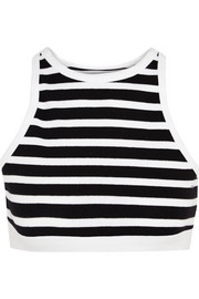 Striped stretch-cotton bra top