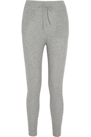 T by Alexander Wang Ribbed wool and cashmere-blend track pants