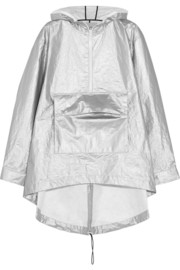T by Alexander Wang Oversized hooded metallic shell rain jacket