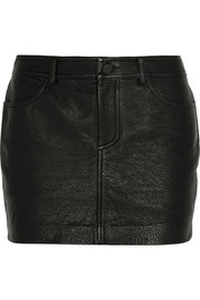 Textured-leather mini skirt