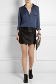 T by Alexander Wang Textured-leather mini skirt