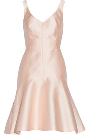 Paneled embossed-satin dress