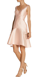 Lela Rose Paneled embossed-satin dress