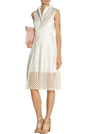 Lela Rose Cutout guipure lace and poplin shirt dress