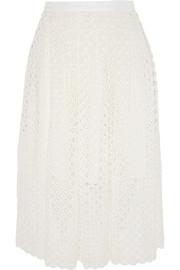 Crocheted lace midi skirt