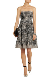 Lela Rose Floral-embroidered tulle dress