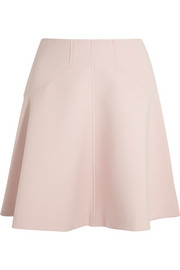 Paneled cotton-blend crepe fluted skirt