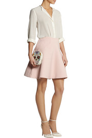 Lela Rose Paneled cotton-blend crepe fluted skirt